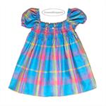 Rainbow Dress, Blue Petticoat, girls smocked dress, Madras cotton, Baby girl